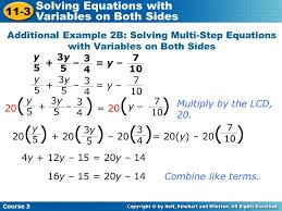 multi step equations with variables on both sides worksheet pdf