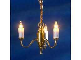 dolls house 3 arm candle chandelier brass gold miniature electric ceiling light