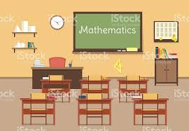 classroom table vector. vector flat illustration of mathematic classroom at the school, university royalty-free stock table