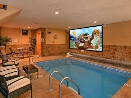 indoor pool. Amazing Cabin With Private Indoor Pool, Pool Theater And Outdoor Fire Pit!