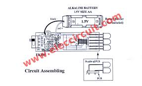 high power led flashlight circuit 1 5v aa battery components layout and circuit assembling