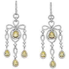 david rosenberg 18kt white gold white yellow diamond pear chandelier earrings for