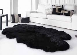 smooth surface black fur throw blanket black extra large sheepskin rug images