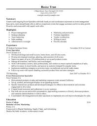 Resume Specialists Event Specialist Resume Examples Free To Try Today