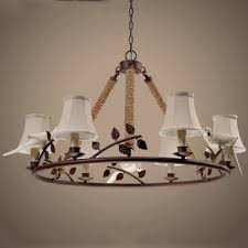 nature inspired 6 light rope chandelier with fabric shade in mottled rust finish for living room