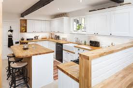 oak kitchens painted in farrow ball s all white with oak worktops
