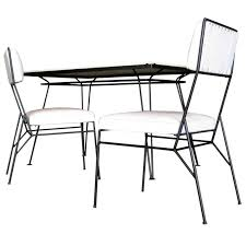 salterini iron patio furniture new salterini wrought iron milk glass dining table w two chairs