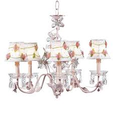 jubilee collection crystal flower pink five light chandelier with pink net flower white chandelier shades