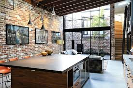Exposed Brick Kitchen Kitchen And Living Area Features Exposed Brick And Large Metal