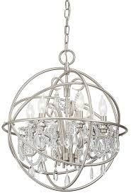 brushed nickel finish chandelier from the vivian collection features a unique spherical design for bold style