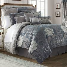 ... Ansonia Floral Blue Gray Comforter Bedding By Waterford Linens Pictures  With Stunning Sets Of Q Blue ...