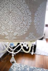 creative damask drum shade chandelier for bedroom design with area rug and wood flooring