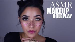 asmr doing your makeup personal attention cottons cream sounds face brushing face touching you