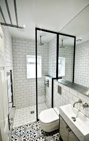 victorian style pattern tiles and chunky shower frame