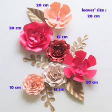 Diy Giant Paper Rose Flower Us 28 56 49 Off Diy Giant Paper Flowers Backdrop Artificial Handmade Paper Rose 6pcs Leaves 5pcs Wedding Party Deco Home Decoration Video In Party