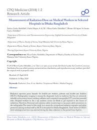 Pdf Measurement Of Radiation Dose On Medical Workers In