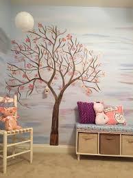 hand painted tree wall art
