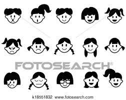 女の子 感情 顔 アイコン クリップアート切り張りイラスト絵画集