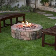 liquid propane gas stone fire pit 36 backyard outdoor campfire heater cover