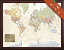 Personalized Framed World Travel Map With Pins Push Pin Etsy