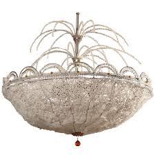 art deco rene lalique style crystal basket chandelier for