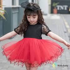 Váy công chúa cho bé gái VC01, váy ren màu đỏ đen cực Cute