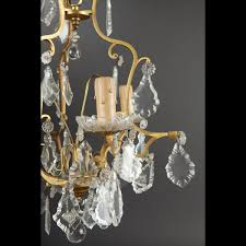 two small brass and crystal chandeliers 18th century manner