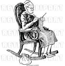 Vector Clip Art of Retro Old Lady Knitting by Prawny Vintage - #24405