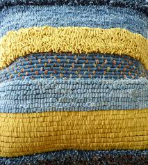 rag rug recycled denim cushion