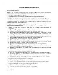 volunteer job description for resume resume ideas