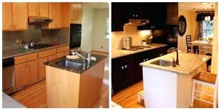 painted brown kitchen cabinets before and after. Kitchen Dark Cabinets Before And After White Brown Island Painted I