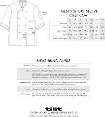 Mens Short Sleeve Chef Coats Size Chart Coat Chef Jackets