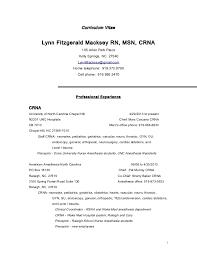 Anesthetic Nurse Sample Resume Enchanting Curriculum Vitae Lynn Fitzgerald Macksey CRNA