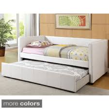 toddler daybed with trundle. Modren Toddler Furniture Of America Modern Marzipan Leatherette Platform Daybed With  Trundle For Toddler With U