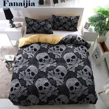 fanaijia 3pcs bedding set king size bohemian skull print duvet cover set with pillowcase au queen
