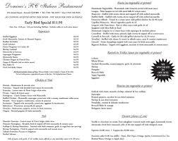 specials menu early bird specials menu dominics italian restaurant
