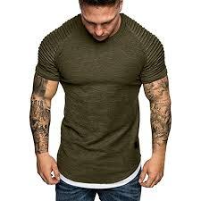 Kpilp Men Tee Slim Fit Casual Ribbed Tops Shirt