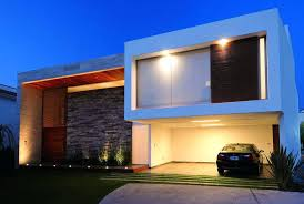 view modern house lights. Modern House Project Contemporary Houses Front View With Tiles Wall Decor Lights
