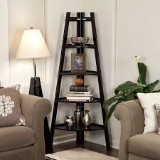Wonderful Espresso Corner Ladder Shelf With Shade Floor Lamps Also Grey  Fabric Living Room Sofa As Decorate In Small Living Room Ideas