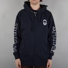 spitfire wheels hoodie. stock bighead sleeve zip hoodie - navy spitfire wheels a