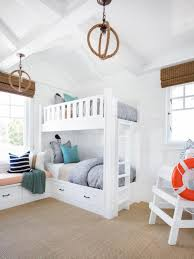 Built In Bunk Beds Kids Coastal Bedroom With Bunk Beds Lifeguard Chair White