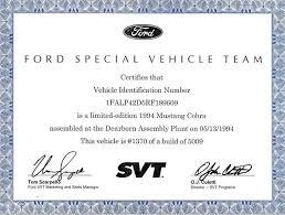 Svt Cobra Certificate Of Authenticity