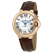 cartier ballon bleu de cartier pink gold brown leather watch w6920069