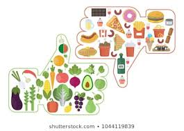 Healthy Vs Unhealthy Food Chart Healthy And Unhealthy Foods Images Stock Photos Vectors