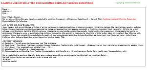 customer complaint service supervisor offer letter customer complaint service supervisor job offer letter sample example doc format for building and writing guide