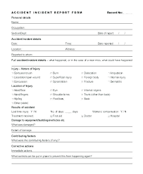 Injury Incident Report Form Template Accident Investigation Ohs Free
