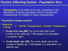 22 factors affecting human population size population change equation