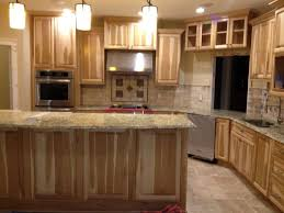 unfinished cabinet with stone countertop ideas with yellow lamp decor for small kitchen with dinning table