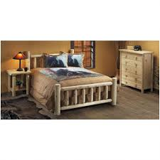 Natural Pine Bedroom Furniture Bedroom Bed With Railing Footboard Rustic Natural Cedar
