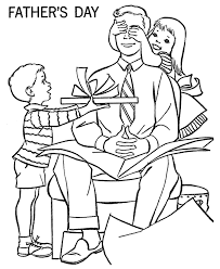 Small Picture Fathers Day Coloring Pages Son and Daughter give Dad a present